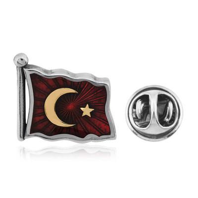 Tekbir Silver - Gümüş Türk Bayrağı Rozet