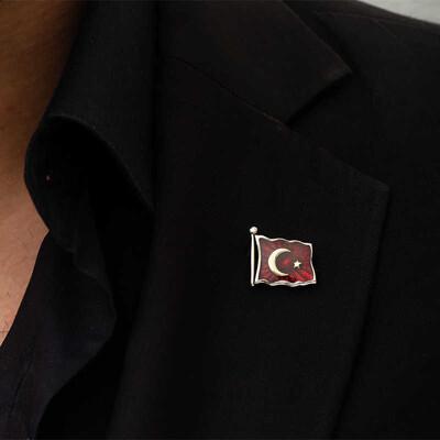Tekbir Silver - Gümüş Türk Bayrağı Rozet (1)