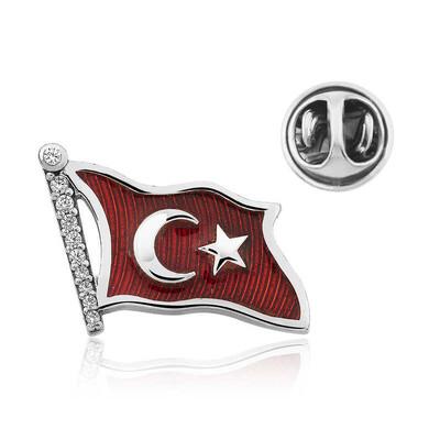Gumush - Gümüş Türk Bayrağı Rozet