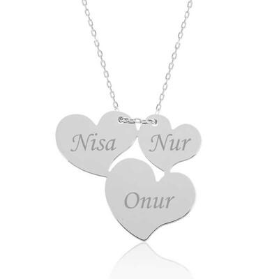 Tekbir Silver - Gümüş Üç Kalp İsimli Bayan Kolye