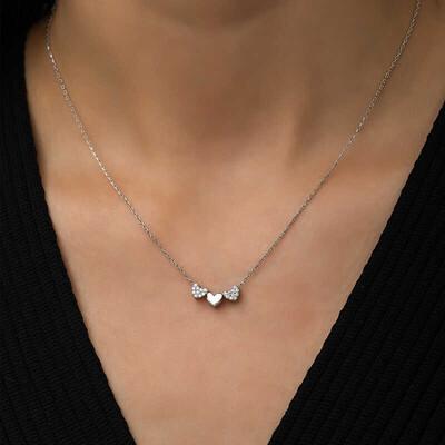Gumush - Gümüş Üç Kalp Kolye (1)