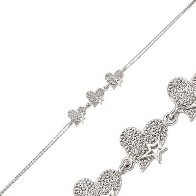 Tekbir Silver - Gümüş Üç Kalpli Bayan Bileklik