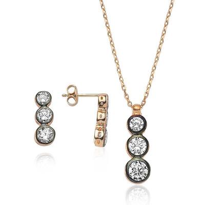 Tekbir Silver - Gümüş Üç Taş Tria Bayan Set