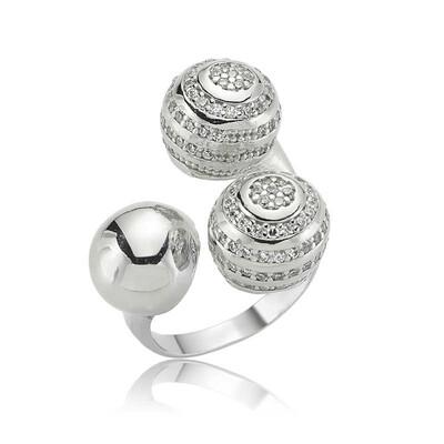 Tekbir Silver - Gümüş Üç Top Bayan Yüzük