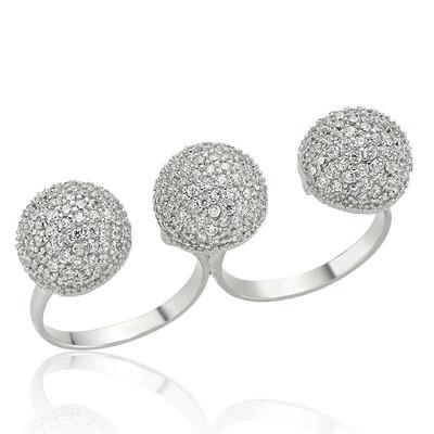 Tekbir Silver - Gümüş Üç Top İkili Bayan Yüzük