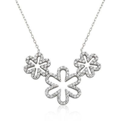 Tekbir Silver - Gümüş Üçlü Papatya Bayan Kolye