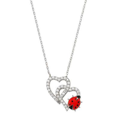 Tekbir Silver - Gümüş Uğur Böcekli İkili Kalp Bayan Kolye