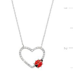 Tekbir Silver - Gümüş Uğur Böcekli Kalp Bayan Kolye