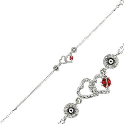 Tekbir Silver - Gümüş Uğur Böcekli Kalp Nazar Bayan Bileklik