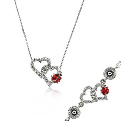 Tekbir Silver - Gümüş Uğur Böcekli Kalp Set