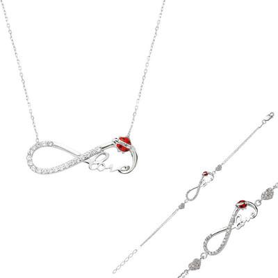 Tekbir Silver - Gümüş Uğur Böcekli Sonsuzluk Love Set