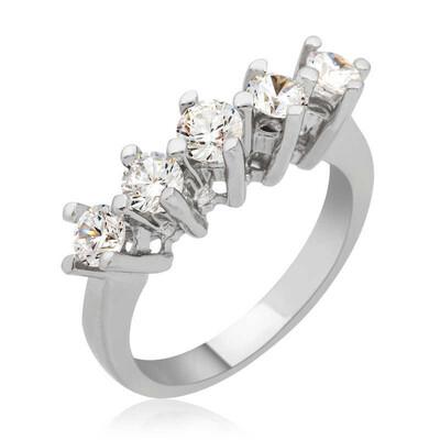 Tekbir Silver - Gümüş Uzun Tırnaklı 5 Taş Bayan Yüzük