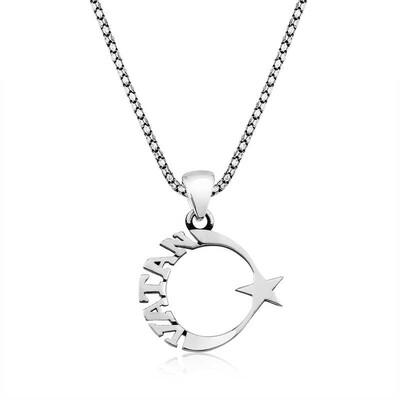 Gumush - Gümüş Vatan Yazılı Ay Yıldız Erkek Kolye
