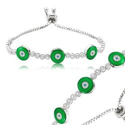 Tekbir Silver - Gümüş Yeşil Asansörlü Bayan Bileklik