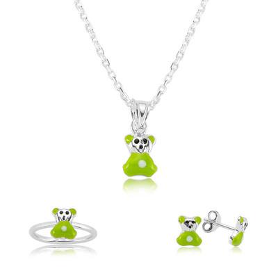 Tekbir Silver - Gümüş Yeşil Ayıcık Çocuk Set