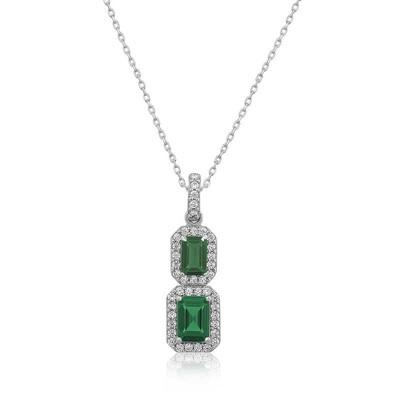 Gumush - Gümüş Yeşil Baget Taşlı Bayan Kolye