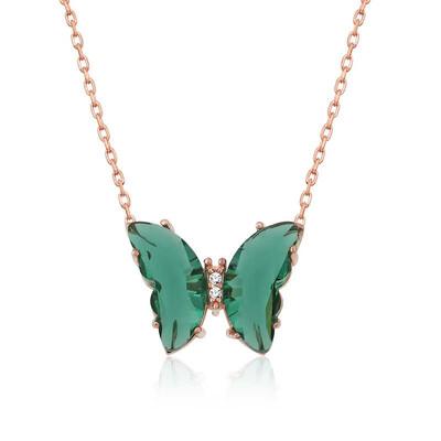 Gumush - Gümüş Yeşil Cam Kelebek Kolye
