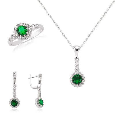 Tekbir Silver - Gümüş Yeşil Çiçek Bayan Set