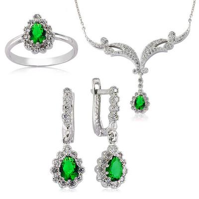 Tekbir Silver - Gümüş Yeşil Damla Bayan Set