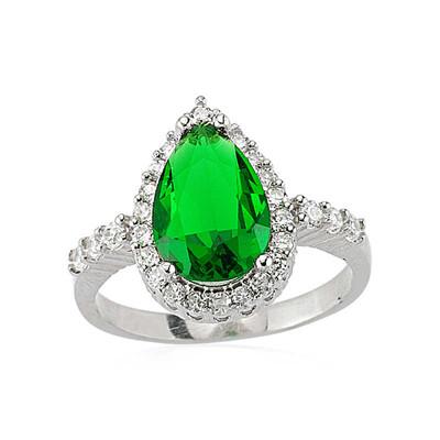 Tekbir Silver - Gümüş Yeşil Damla Taşlı Bayan Yüzük