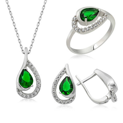 Tekbir Silver - Gümüş Yeşil Drop Bayan Set