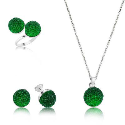 Tekbir Silver - Gümüş Yeşil Kristal Bayan Set