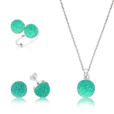 Tekbir Silver - Gümüş Yeşil Kristal Taşlı Bayan Set