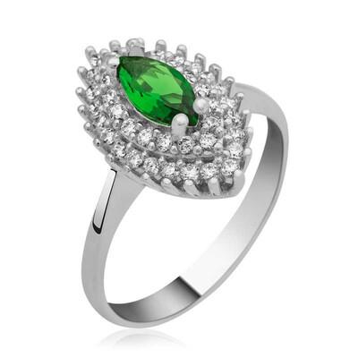 Tekbir Silver - Gümüş Yeşil Mekik Bayan Yüzük