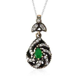 Tekbir Silver - Gümüş Yeşil Otantik Bayan Kolye