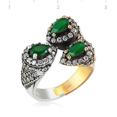 Tekbir Silver - Gümüş Yeşil Otantik Bayan Yüzük