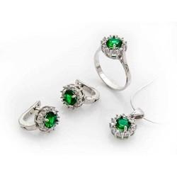 Tekbir Silver - Gümüş Yeşil Taşlı Bayan Set