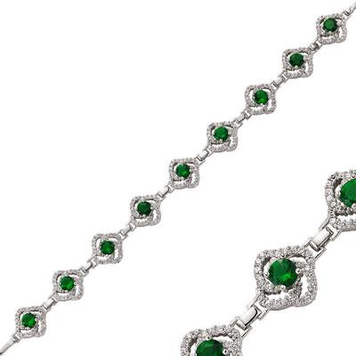 Tekbir Silver - Gümüş Yeşil Taşlı Çiçek Bayan Bileklik