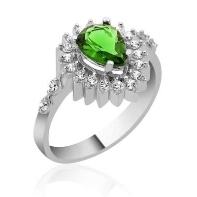 Tekbir Silver - Gümüş Yeşil Taşlı Damla Bayan Yüzük