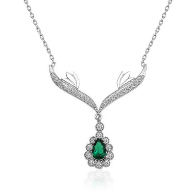 Gumush - Gümüş Yeşil Taşlı Madalyon Bayan Kolye