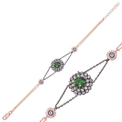 Tekbir Silver - Gümüş Yeşil Taşlı Otantik Bayan Bileklik