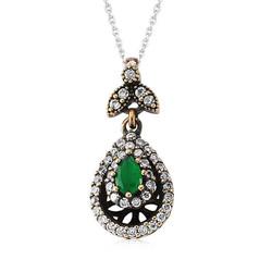 Tekbir Silver - Gümüş Yeşil Taşlı Otantik Bayan Kolye