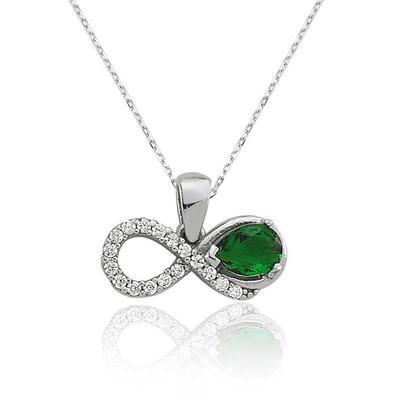 Tekbir Silver - Gümüş Yeşil Taşlı Sonsuzluk Bayan Kolye