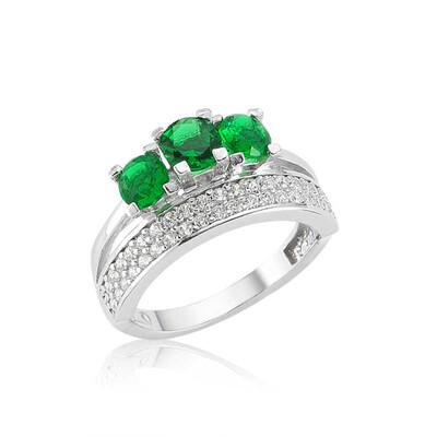 Tekbir Silver - Gümüş Yeşil Üç Taş Tria Bayan Yüzük