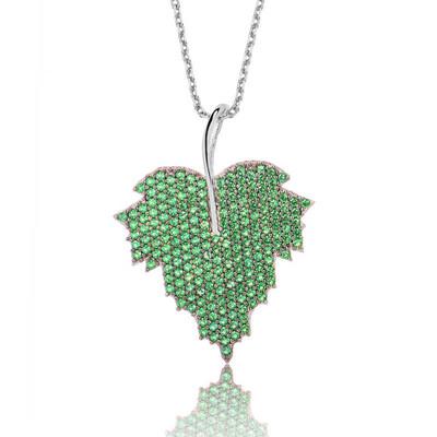 Tekbir Silver - Gümüş Yeşil Yaprak Bayan Kolye