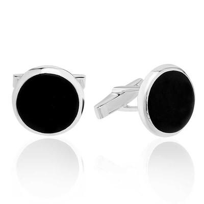 Tekbir Silver - Gümüş Yuvarlak Siyah Taşlı Kol Düğmesi