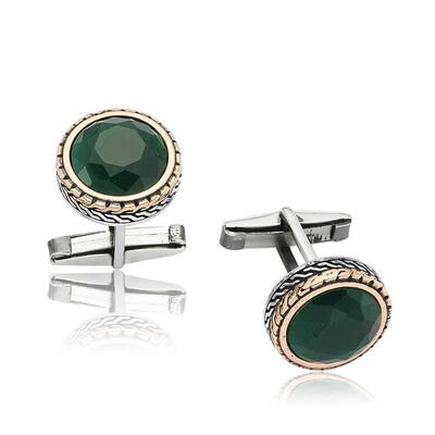 Tekbir Silver - Gümüş Yuvarlak Yeşil Taşlı Kol Düğmesi