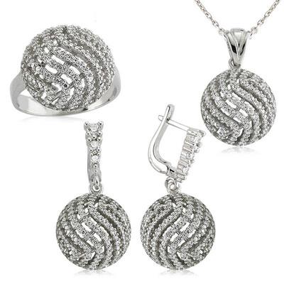 Tekbir Silver - Gümüş Yuvarlak Zirkon Taşlı Bayan Set