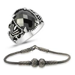 Tekbir Silver - Gümüş Yüzük Ve Kazaz Bileklik Erkek Takı Kombin