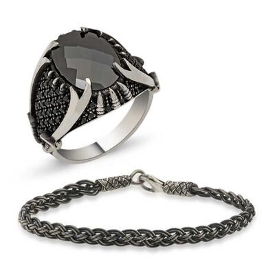 Tekbir Silver - Gümüş Yüzük Ve Kazaziye Bileklik Erkek Takı Kombin
