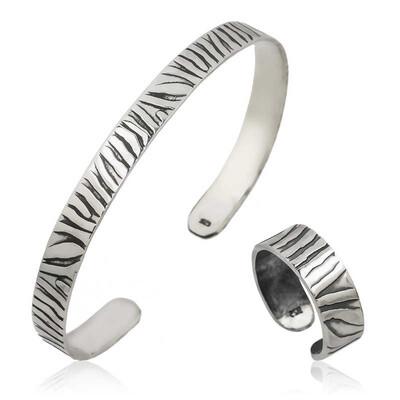 Tekbir Silver - Gümüş Zebra Desenli Bileklik Ve Yüzük Set