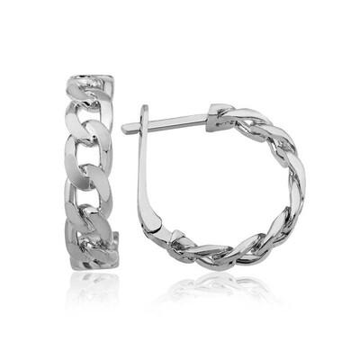 Tekbir Silver - Gümüş Zincir Desenli Halka Küpe