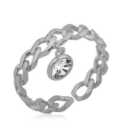 Gumush - Gümüş Zincir Desenli Sallantılı Tek Taş Bayan Yüzük