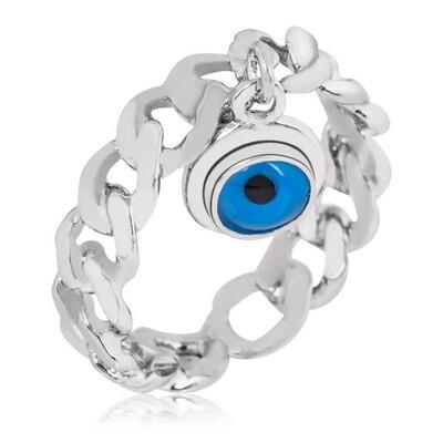 Tekbir Silver - Gümüş Zincir Nazar Göz Bayan Yüzük