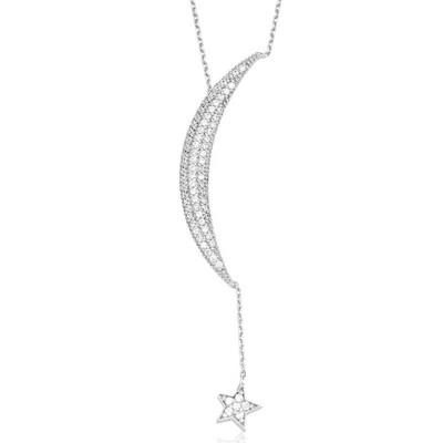 Tekbir Silver - Gümüş Zincirli Ay Yıldız Bayan Kolye