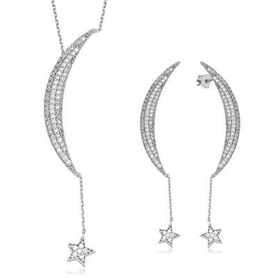 Tekbir Silver - Gümüş Zincirli Ay Yıldız Bayan Set